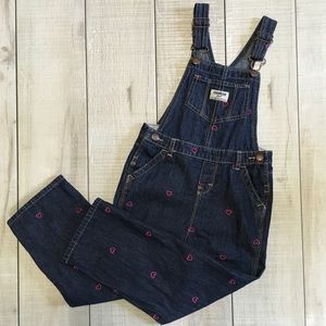 Pink Heart Embroidered Overalls